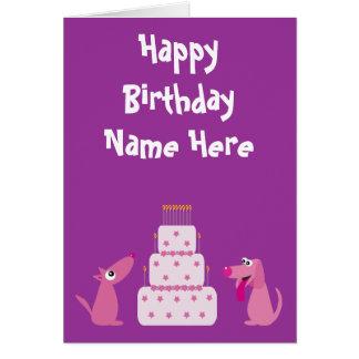 Cute Cartoon Dogs Birthday Animal Charity Purple Stationery Note Card