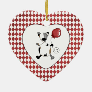 Cute Cartoon Dogs on Checkerboard Heart Ceramic Ornament