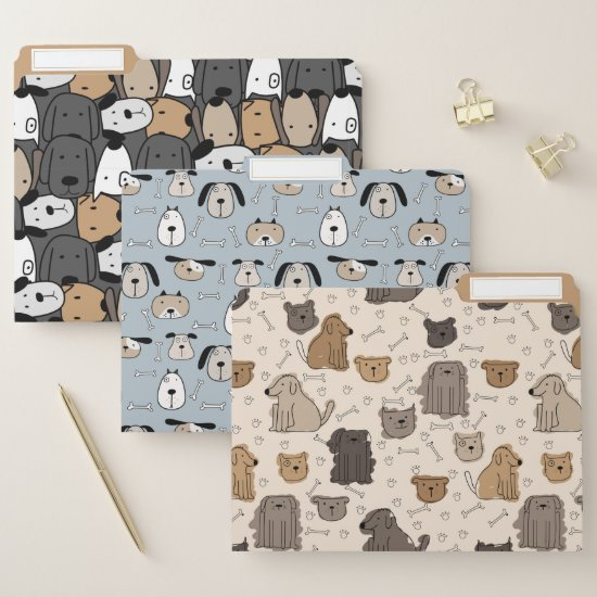 Cute Cartoon Dogs Pattern File Folder