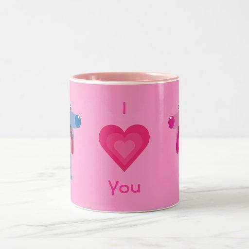 Cute Cartoon Dogs Pink I Love You Mug