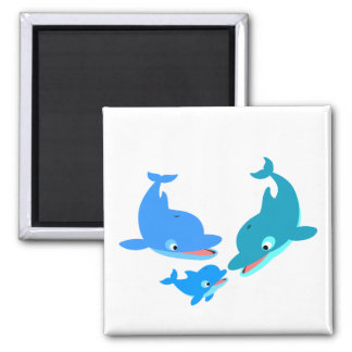 Cute Cartoon Dolphin Family 2 Inch Square Magnet