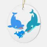 Cute Cartoon Dolphin Family Ceramic Ornament