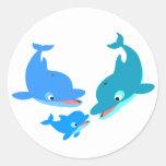 Cute Cartoon Dolphin Family Classic Round Sticker