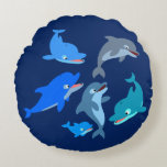 Cute Cartoon Dolphin Pod Round Pillow