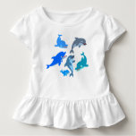 Cute Cartoon Dolphin Pod Ruffle T-Shirt