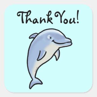 Cute cartoon dolphin thank you square sticker