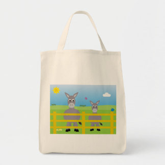 Cute Cartoon Donkeys Charity Grocery Tote Bag