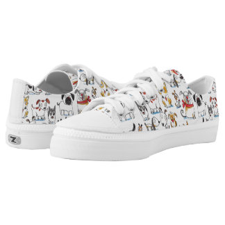 cute cartoon doodle dogs pattern Low-Top sneakers