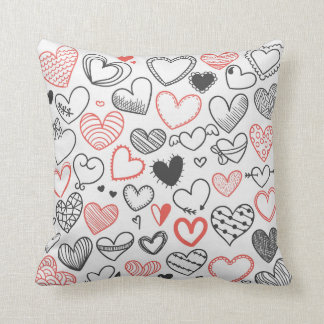 Cute Cartoon doodle hearts pattern red and black Pillow