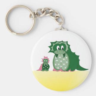 Cute Cartoon Dragons Basic Round Button Keychain