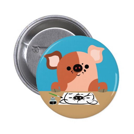Cute Cartoon Drawing Piglet Button Badge