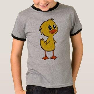 Cute Cartoon Duck Boy's Ringer T-Shirt