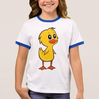 Cute Cartoon Duck Girl's Ringer T-Shirt