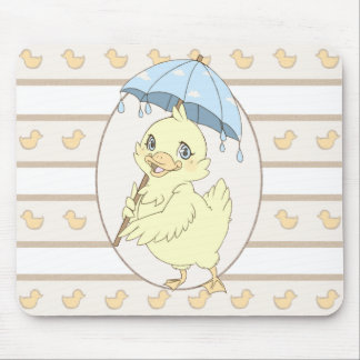 Cute cartoon duckling with umbrella mouse pad