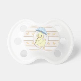 Cute cartoon duckling with umbrella baby pacifier