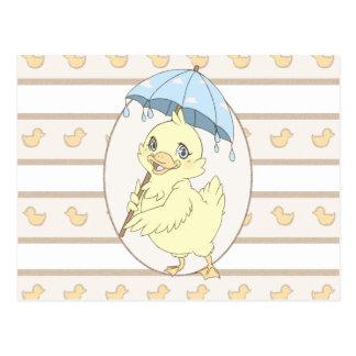 Cute cartoon duckling with umbrella postcards