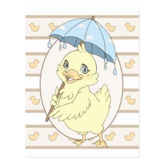 Cute cartoon duckling with umbrella postcard