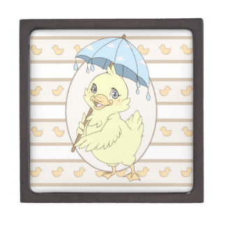 Cute cartoon duckling with umbrella premium gift box