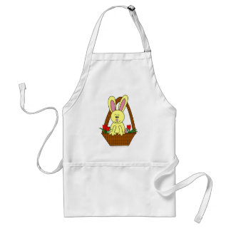 Cute Cartoon Easter Bunny in a Basket Adult Apron