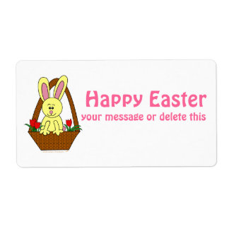 Cute Cartoon Easter Bunny in a Basket Custom Shipping Labels