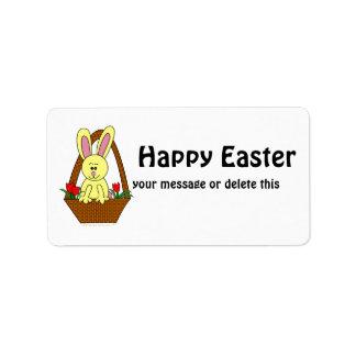 Cute Cartoon Easter Bunny in a Basket Custom Address Label