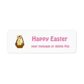 Cute Cartoon Easter Bunny in a Basket Custom Return Address Labels