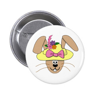 Cute Cartoon Easter Bunny in A Bonnet Pinback Buttons