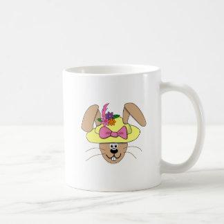 Cute Cartoon Easter Bunny in A Bonnet Classic White Coffee Mug