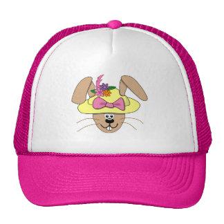 Cute Cartoon Easter Bunny in A Bonnet Trucker Hat