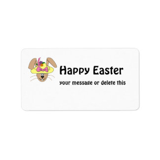 Cute Cartoon Easter Bunny in A Bonnet Label