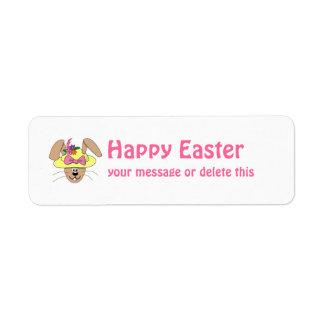 Cute Cartoon Easter Bunny in A Bonnet Return Address Label