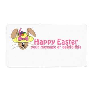 Cute Cartoon Easter Bunny in A Bonnet Shipping Label