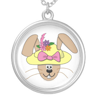 Cute Cartoon Easter Bunny in A Bonnet Round Pendant Necklace