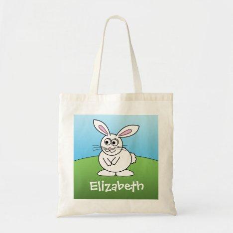 Cute Cartoon Easter Bunny with Custom Name Tote Bag