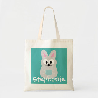 Cute Cartoon Easter Bunny with Custom Name Tote Bag