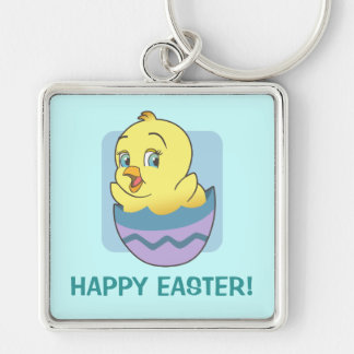 Cute Cartoon Easter Chick Keychain