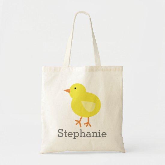 Cute Cartoon Easter Chick with Custom Name Tote Bag