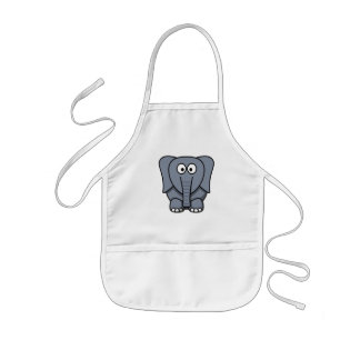 Cute Cartoon Elephant Clipart Kids' Apron