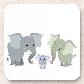 Cute Cartoon Elephant Family Coasters Set