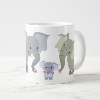 Cute Cartoon Elephant Family Jumbo Mug