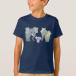 Cute Cartoon Elephant Family Kids T-Shirt