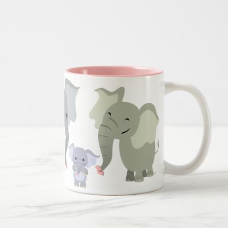 Cute Cartoon Elephant Family Mug