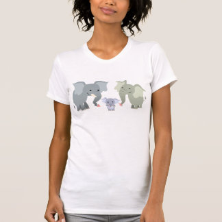 Cute Cartoon Elephant Family Women T-Shirt