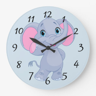 Cute cartoon Elephant Large Clock