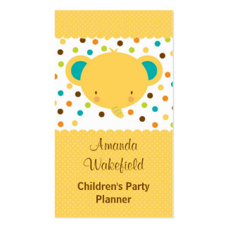 Cute Cartoon Elephant Party Planner Double-Sided Standard Business Cards (Pack Of 100)