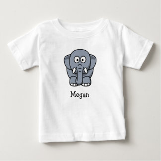 Cute cartoon elephant personalize with childs name baby T-Shirt