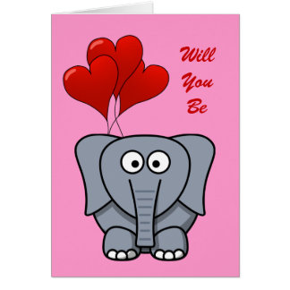 Cute Cartoon Elephant Red Heart Balloons Valentine Greeting Cards