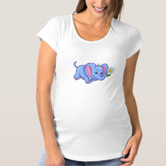 Cute Cartoon Elephant With Flower Maternity T-Shirt