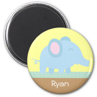 Cute cartoon elephant with stripes border magnet