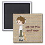 Cute Cartoon Emo Boy Skateboarder 2 Inch Square Magnet